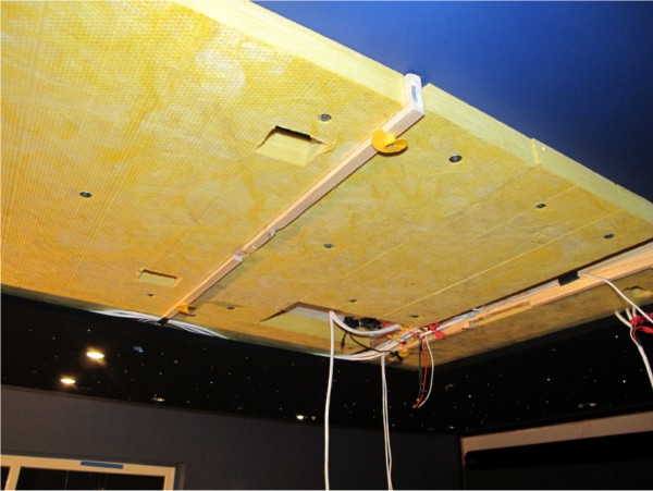 Partially installed fiber optic star ceiling