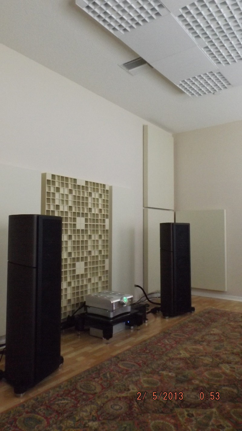 Acoustically treated high end audio room