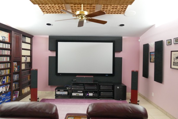 Home theater with acoustic treatment, view to screen