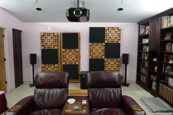 Home theater acoustic treatment, rear wall