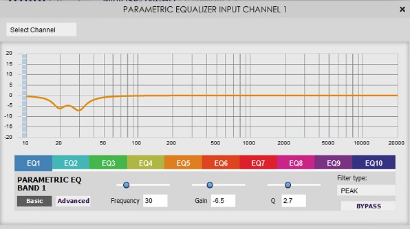 Parametric EQ of the subwoofers in the miniDSP 2x4 processor.