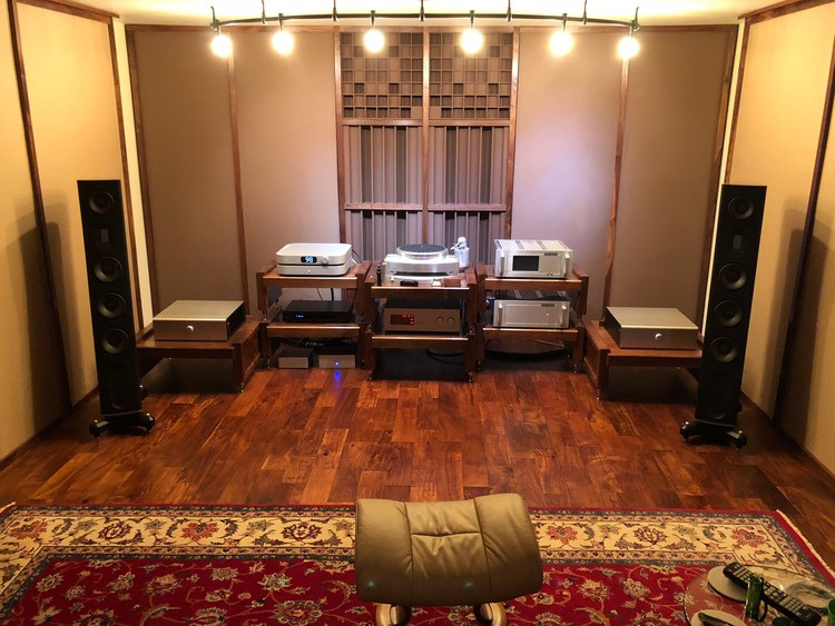Completed basement listening room.